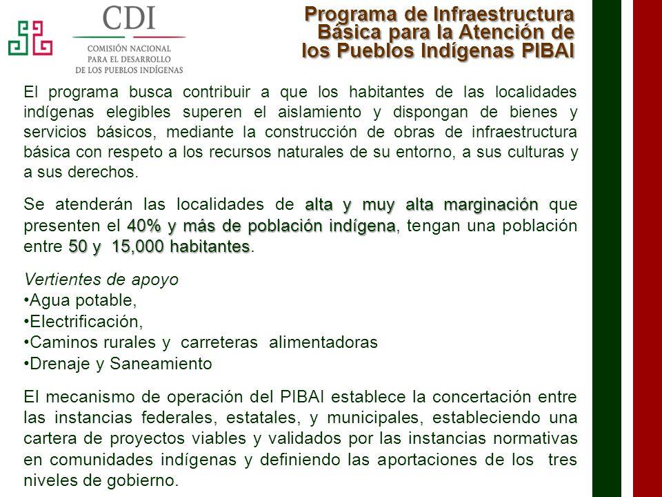 Programa de Infraestructura Básica para la Atención de los Pueblos Indígenas PIBAI