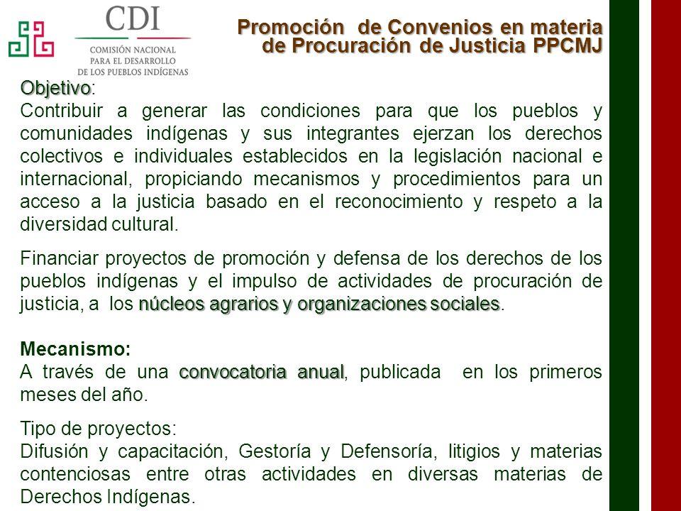 Promoción de Convenios en materia de Procuración de Justicia PPCMJ