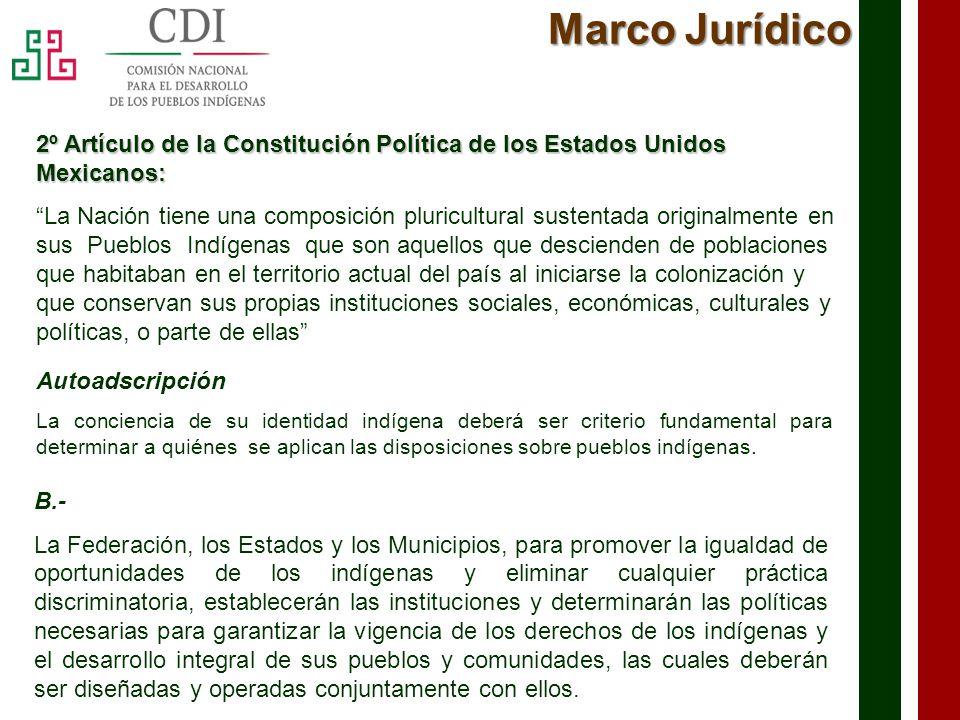 Marco Jurídico 2º Artículo de la Constitución Política de los Estados Unidos Mexicanos: