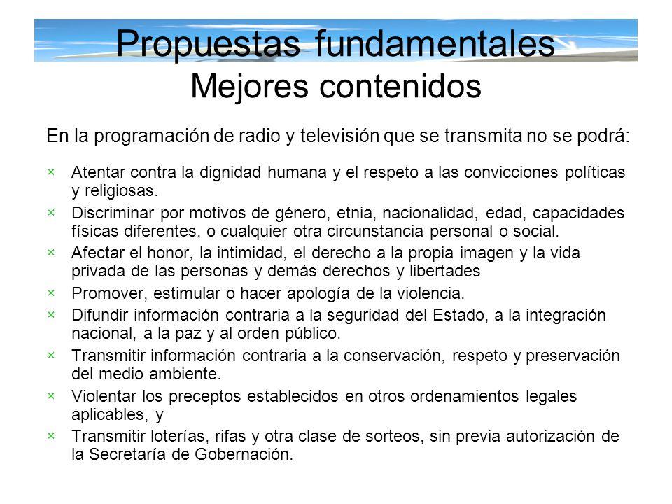 Propuestas fundamentales Mejores contenidos