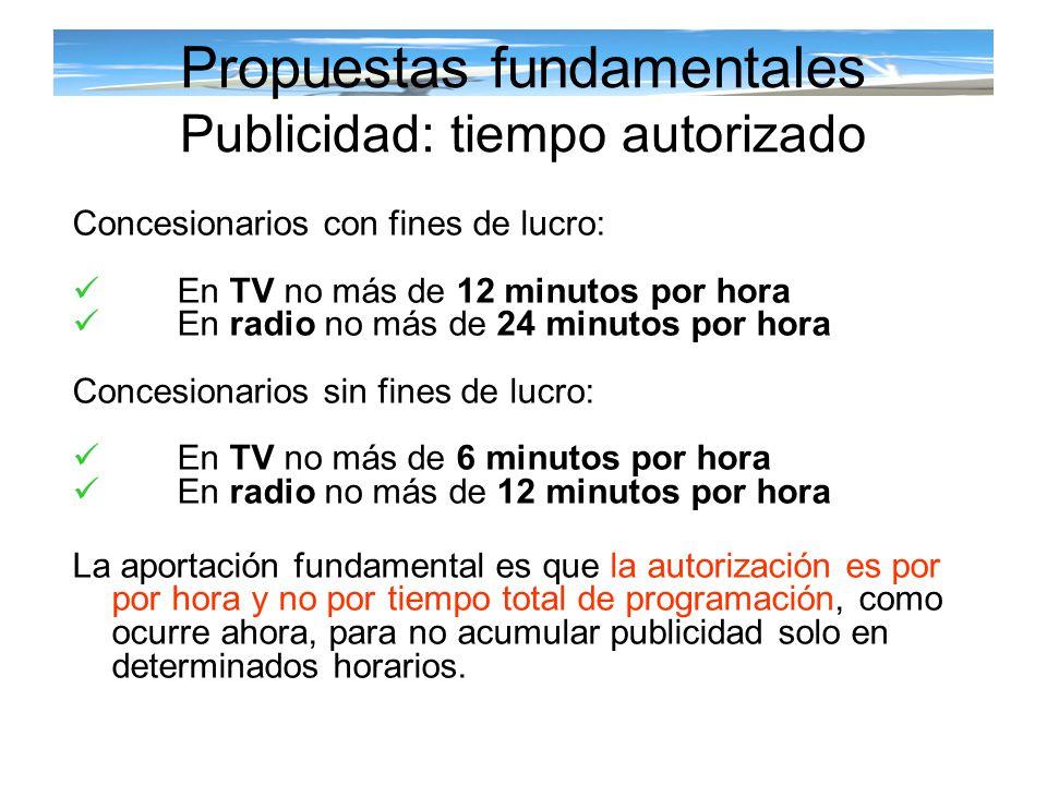 Propuestas fundamentales Publicidad: tiempo autorizado