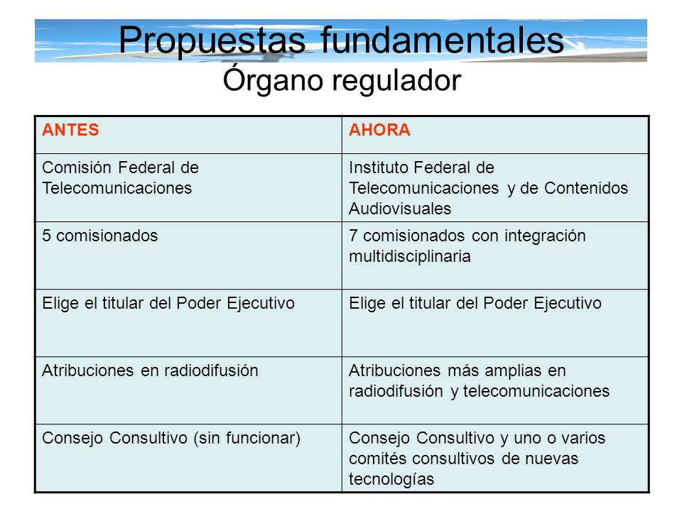 Propuestas fundamentales Órgano regulador