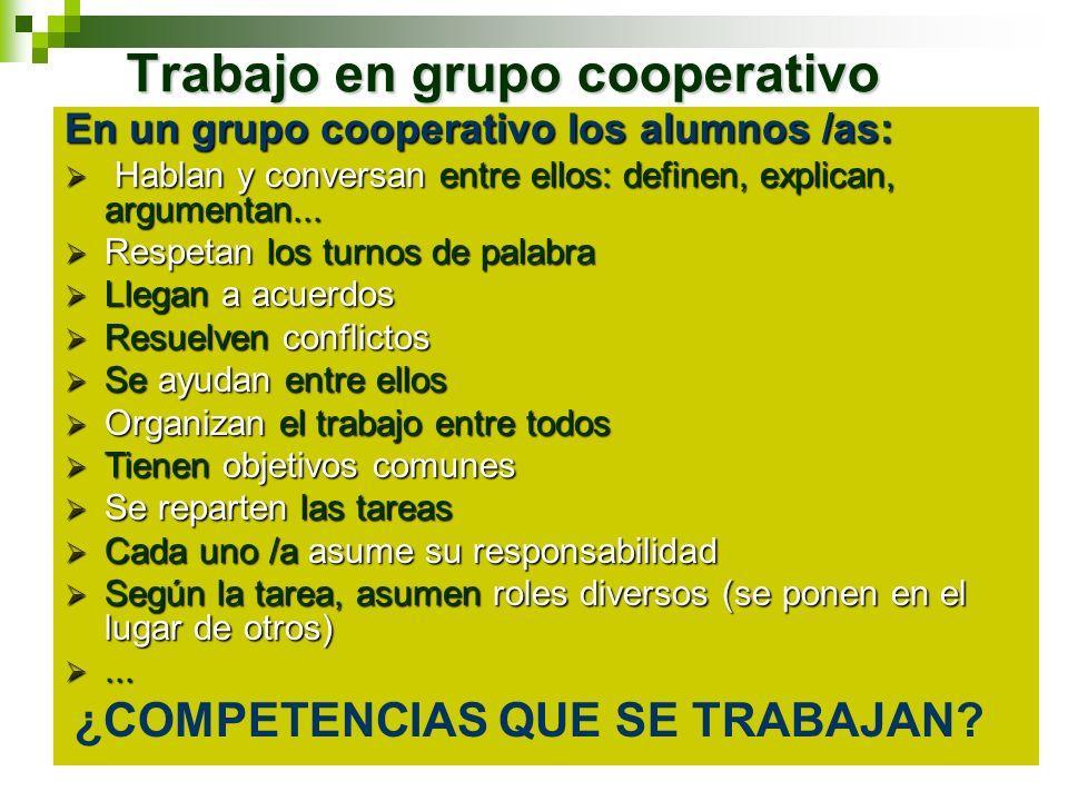 Trabajo en grupo cooperativo