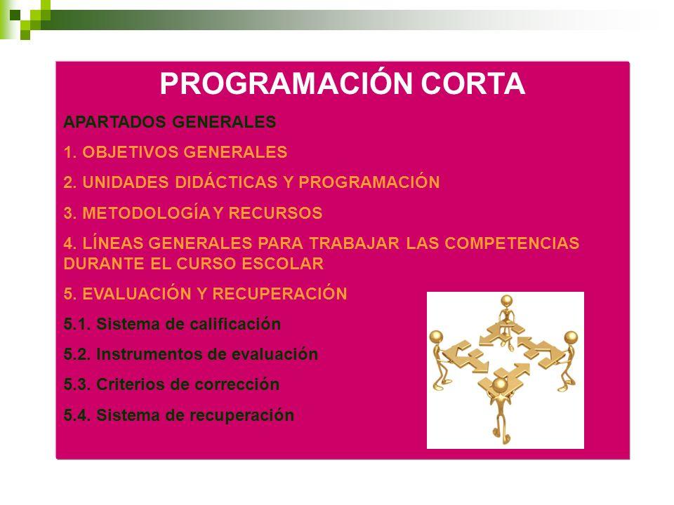 PROGRAMACIÓN CORTA APARTADOS GENERALES 1. OBJETIVOS GENERALES