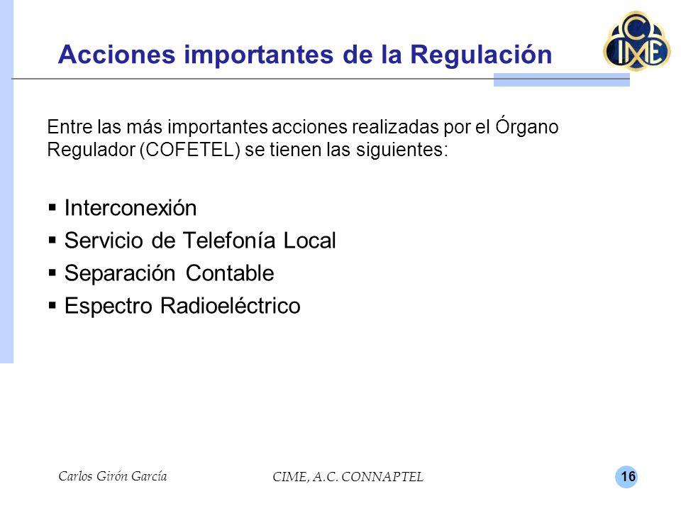 Acciones importantes de la Regulación