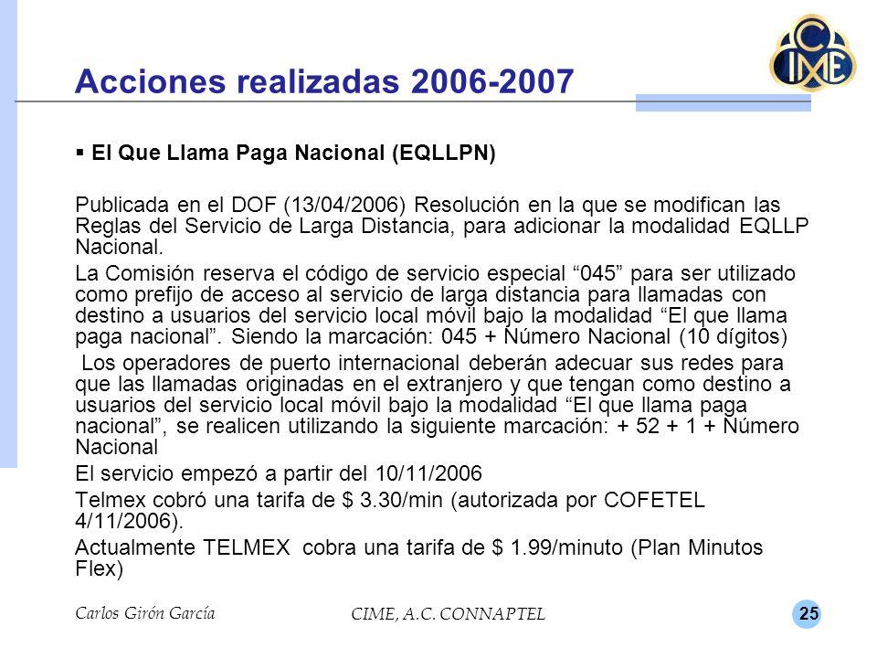 Acciones realizadas 2006-2007 El Que Llama Paga Nacional (EQLLPN)