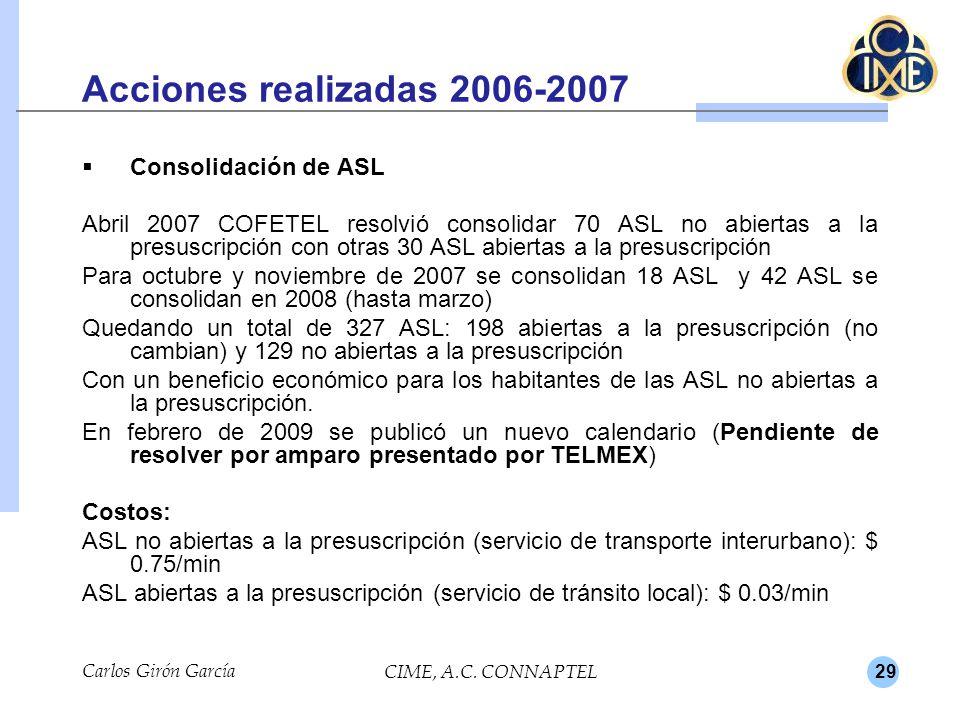 Acciones realizadas 2006-2007 Consolidación de ASL