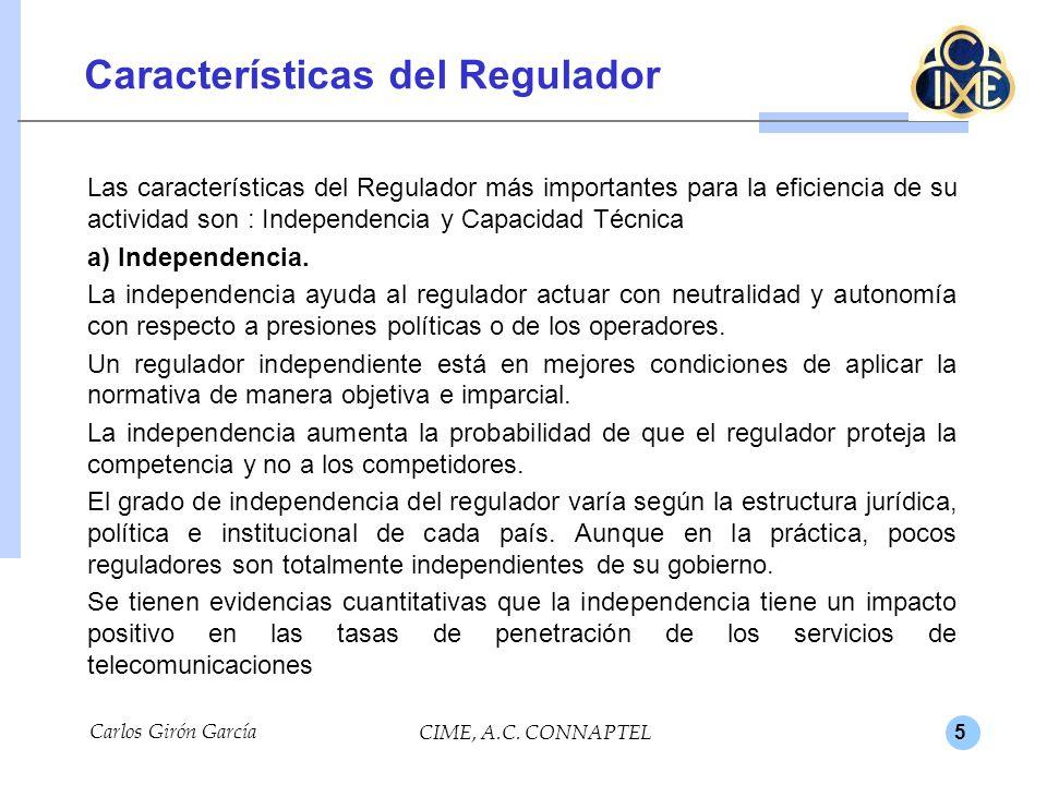 Características del Regulador
