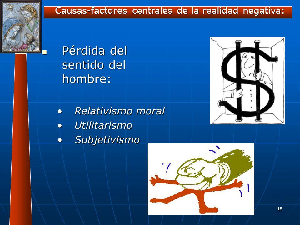 Causas-factores centrales de la realidad negativa: