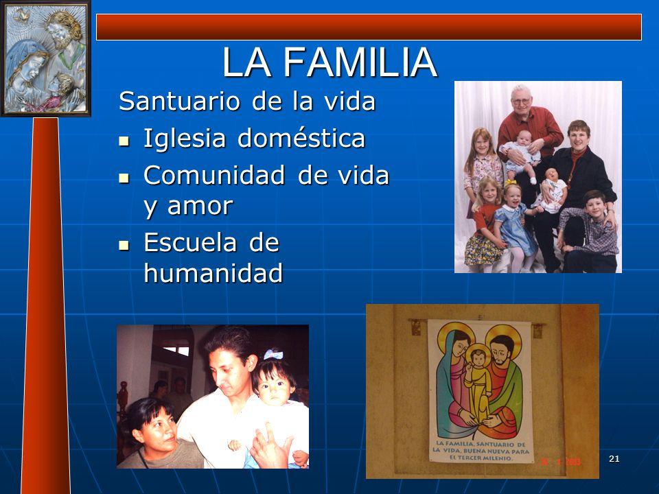 LA FAMILIA Santuario de la vida Iglesia doméstica