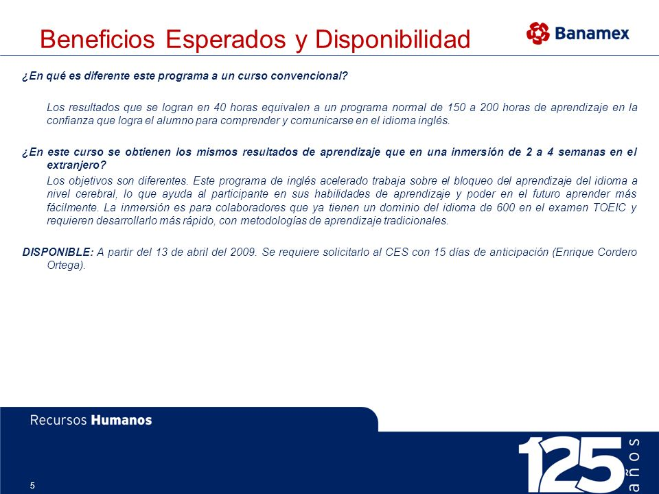 Beneficios Esperados y Disponibilidad
