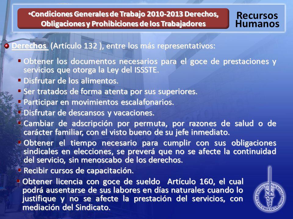 Derechos (Artículo 132 ), entre los más representativos: