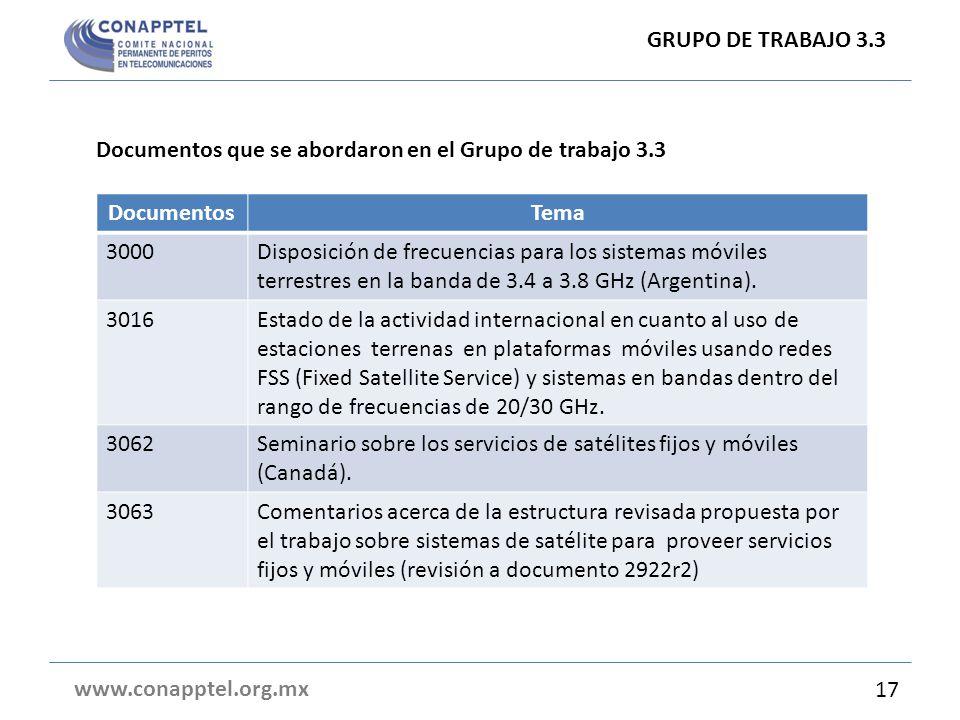 GRUPO DE TRABAJO 3.3 Documentos que se abordaron en el Grupo de trabajo 3.3. Documentos. Tema. 3000.