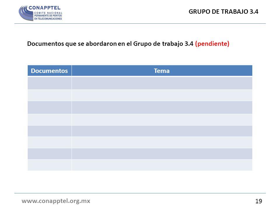 GRUPO DE TRABAJO 3.4 Documentos que se abordaron en el Grupo de trabajo 3.4 (pendiente) Documentos.