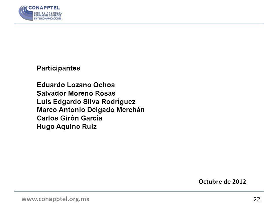 Participantes Eduardo Lozano Ochoa. Salvador Moreno Rosas. Luis Edgardo Silva Rodríguez. Marco Antonio Delgado Merchán.