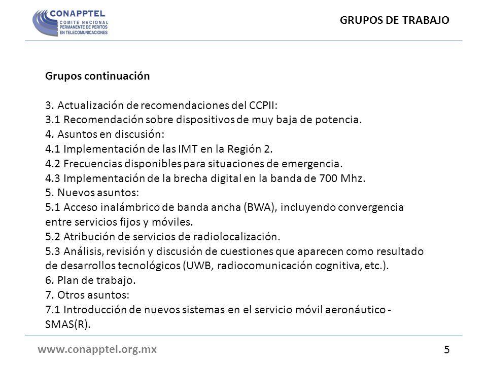 GRUPOS DE TRABAJO Grupos continuación. 3. Actualización de recomendaciones del CCPII: 3.1 Recomendación sobre dispositivos de muy baja de potencia.