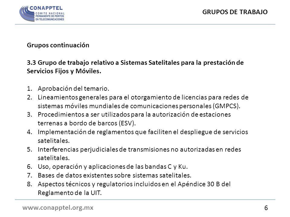 GRUPOS DE TRABAJO Grupos continuación. 3.3 Grupo de trabajo relativo a Sistemas Satelitales para la prestación de Servicios Fijos y Móviles.