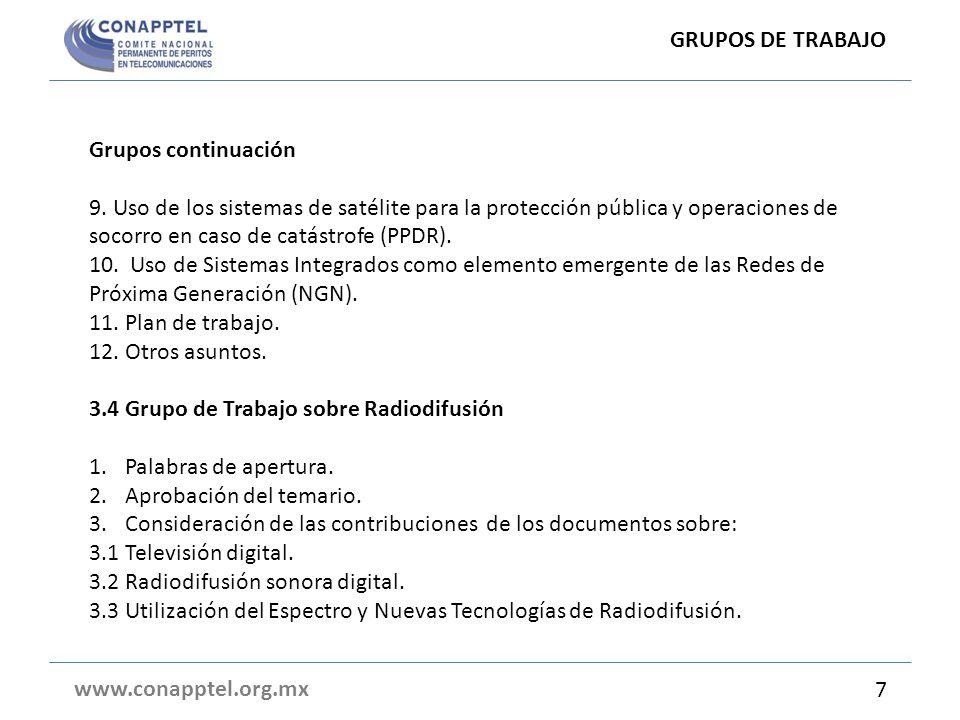 GRUPOS DE TRABAJO Grupos continuación.