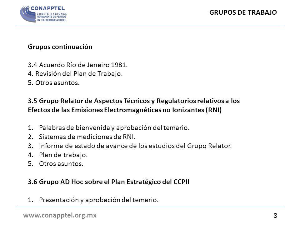 GRUPOS DE TRABAJO Grupos continuación. 3.4 Acuerdo Río de Janeiro 1981. 4. Revisión del Plan de Trabajo.