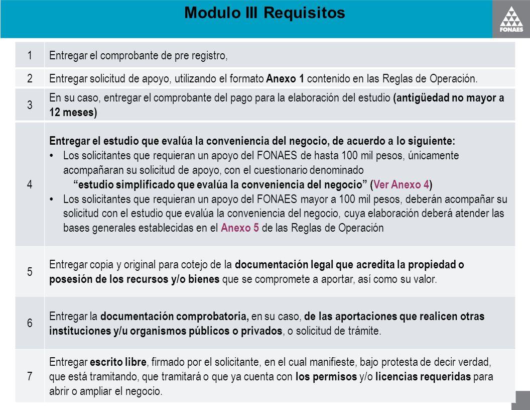 Modulo III Requisitos 1 Entregar el comprobante de pre registro, 2