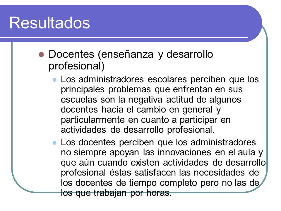 Resultados Docentes (enseñanza y desarrollo profesional)
