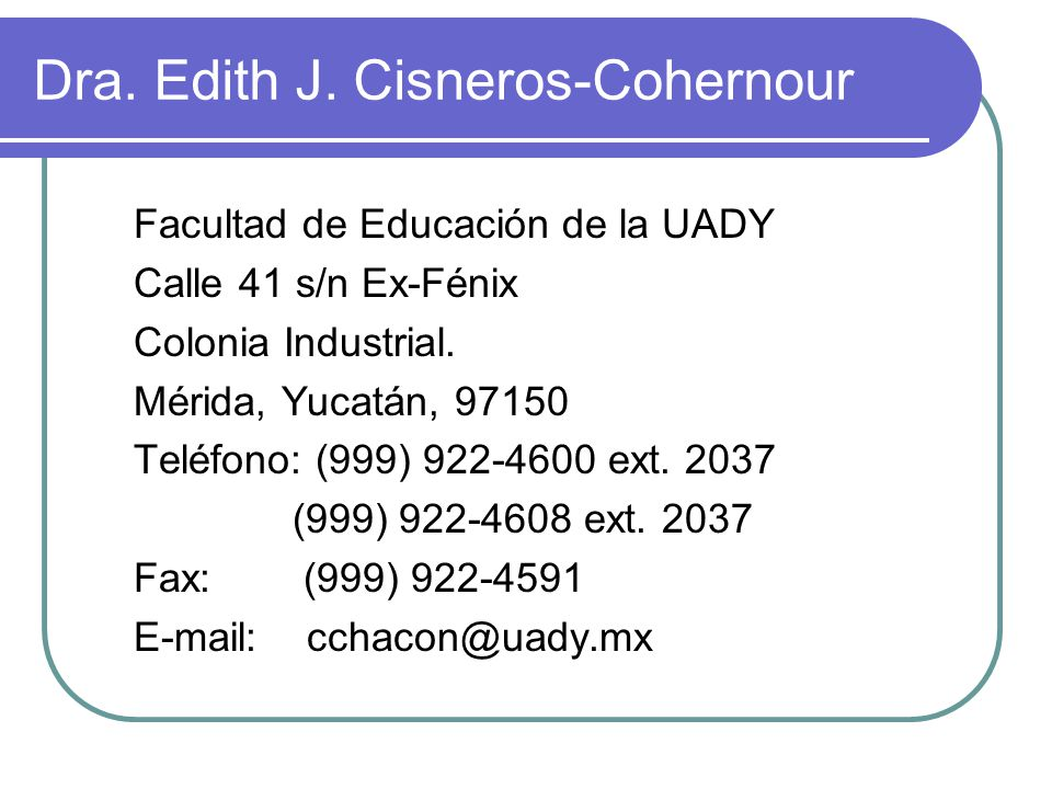 Dra. Edith J. Cisneros-Cohernour