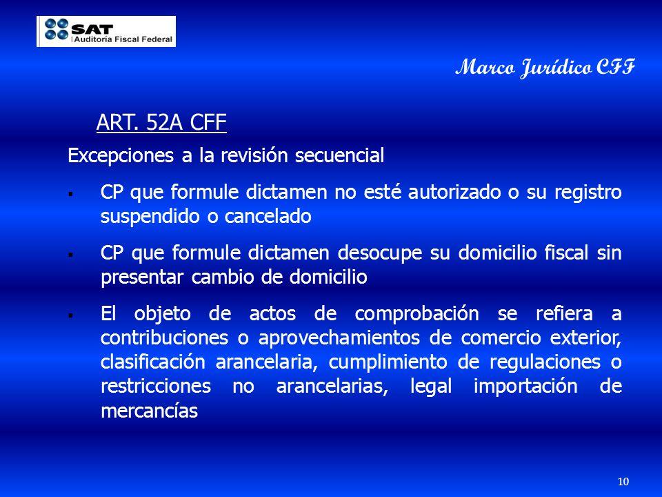 Marco Jurídico CFF ART. 52A CFF Excepciones a la revisión secuencial