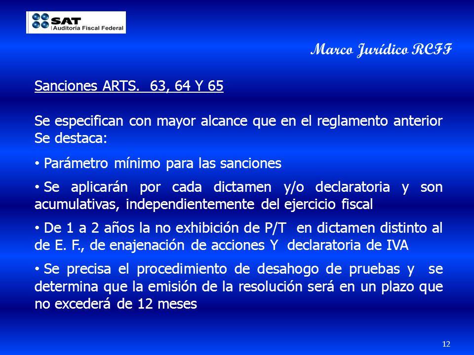 Marco Jurídico RCFF Sanciones ARTS. 63, 64 Y 65