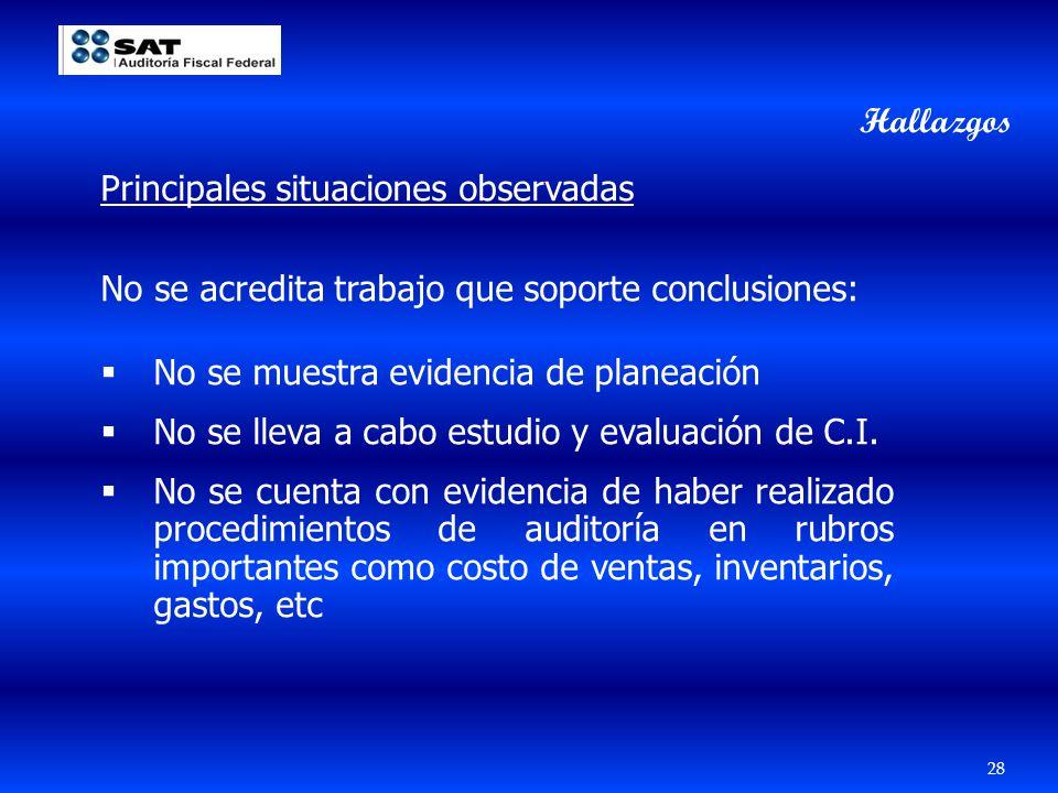 Hallazgos Principales situaciones observadas. No se acredita trabajo que soporte conclusiones: No se muestra evidencia de planeación.