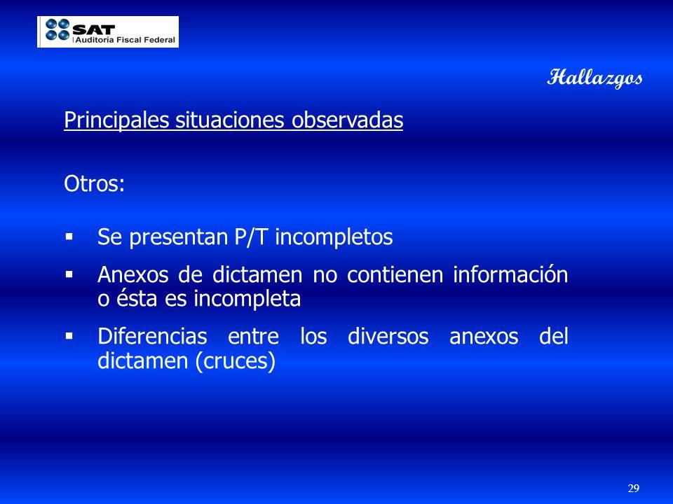 Hallazgos Principales situaciones observadas. Otros: Se presentan P/T incompletos.
