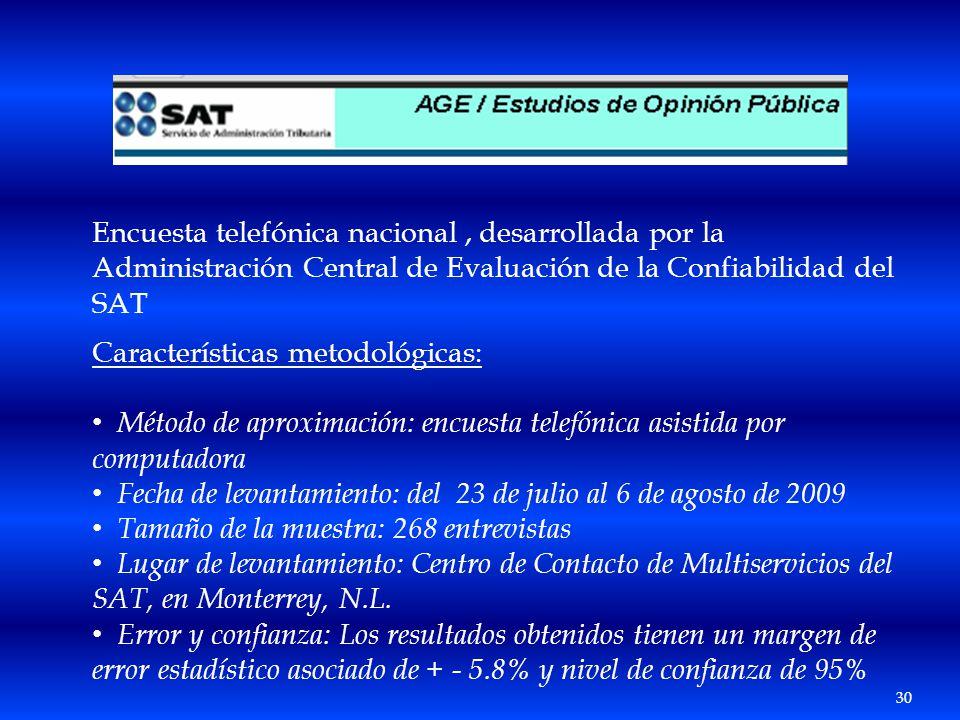 Encuesta telefónica nacional , desarrollada por la Administración Central de Evaluación de la Confiabilidad del SAT