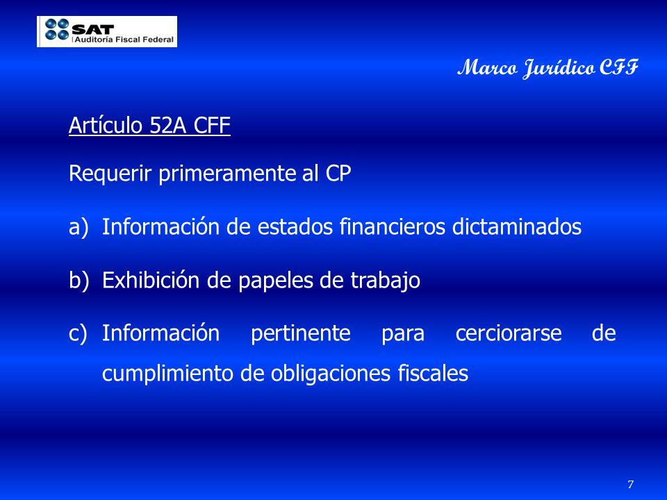 Marco Jurídico CFF Artículo 52A CFF. Requerir primeramente al CP. Información de estados financieros dictaminados.