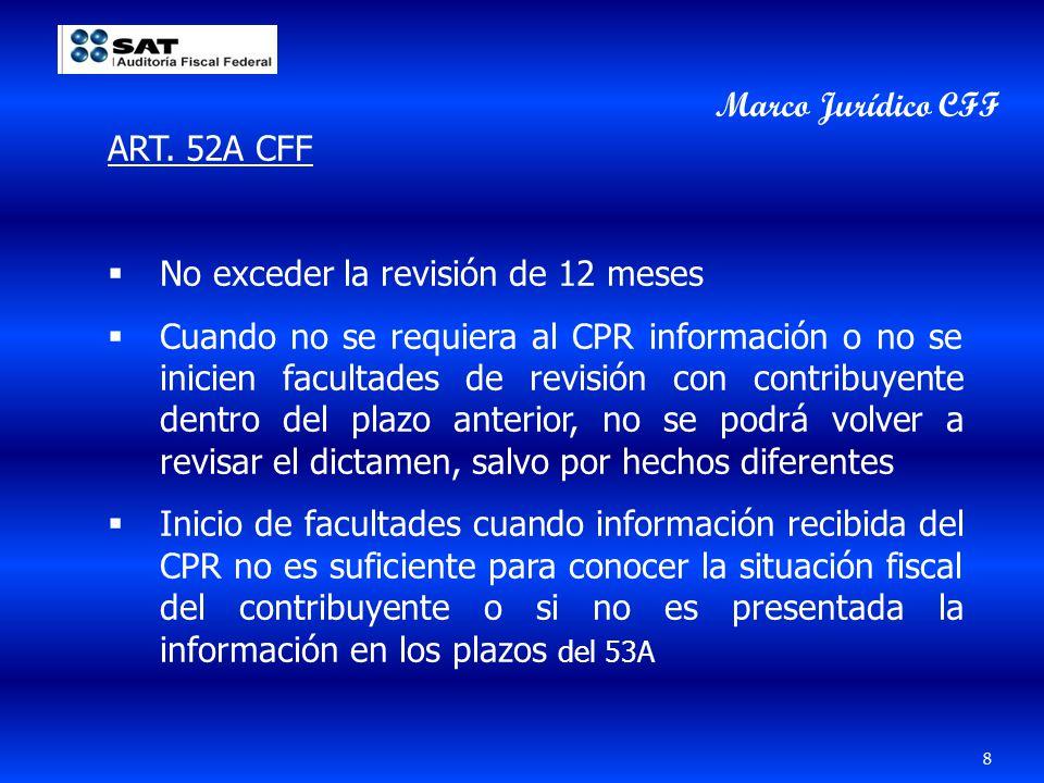 Marco Jurídico CFF ART. 52A CFF. No exceder la revisión de 12 meses.