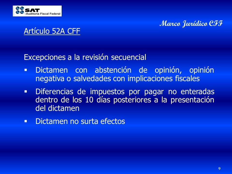 Marco Jurídico CFF Artículo 52A CFF. Excepciones a la revisión secuencial.