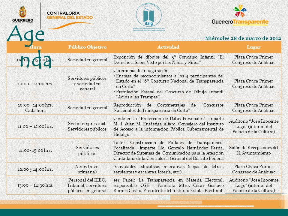 Agenda Miércoles 28 de marzo de 2012 Servidores públicos Hora