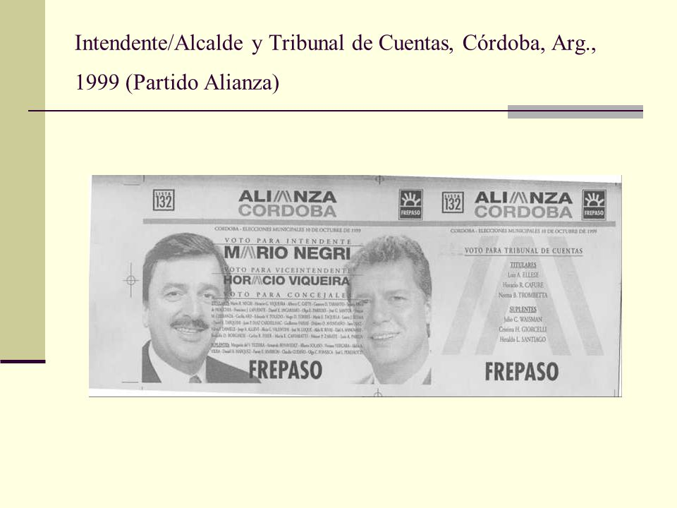 Intendente/Alcalde y Tribunal de Cuentas, Córdoba, Arg