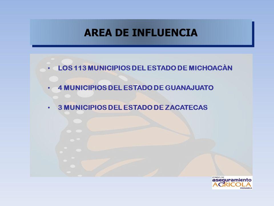 AREA DE INFLUENCIA LOS 113 MUNICIPIOS DEL ESTADO DE MICHOACÀN