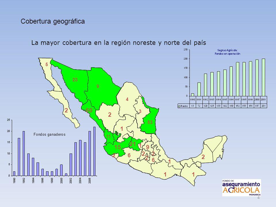 Cobertura geográfica La mayor cobertura en la región noreste y norte del país. 5. 23. 9. 4. 2.