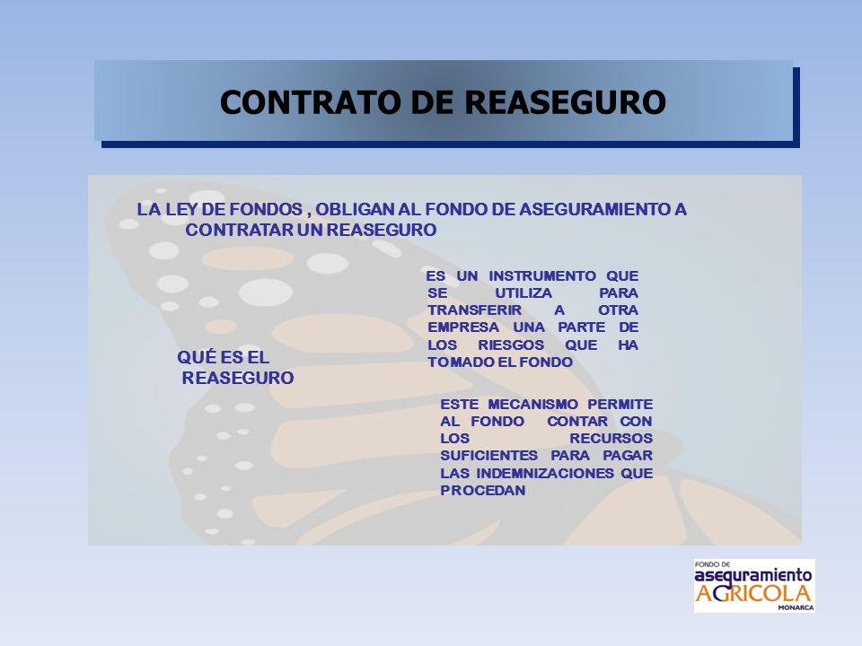 CONTRATO DE REASEGURO LA LEY DE FONDOS , OBLIGAN AL FONDO DE ASEGURAMIENTO A CONTRATAR UN REASEGURO.