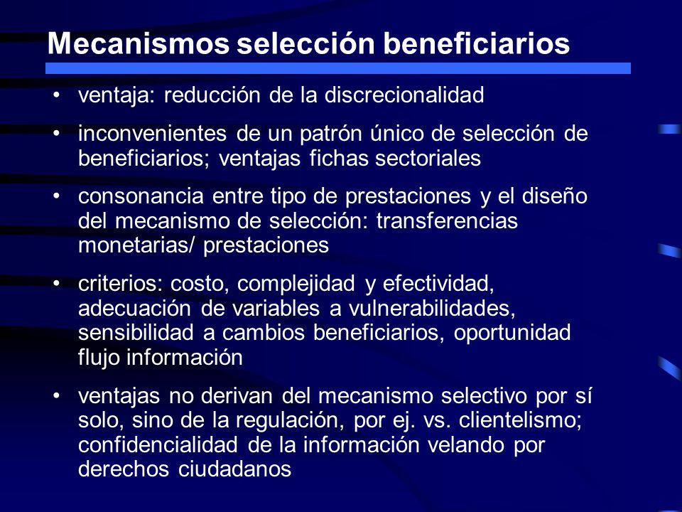 Mecanismos selección beneficiarios