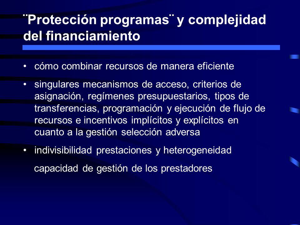 ¨Protección programas¨ y complejidad del financiamiento