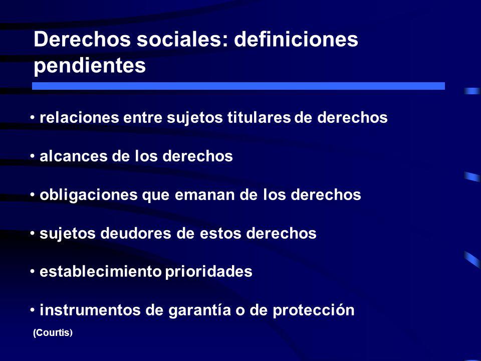 Derechos sociales: definiciones pendientes