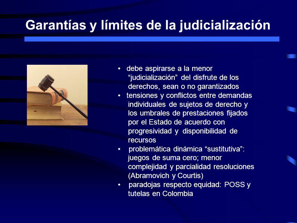 Garantías y límites de la judicialización