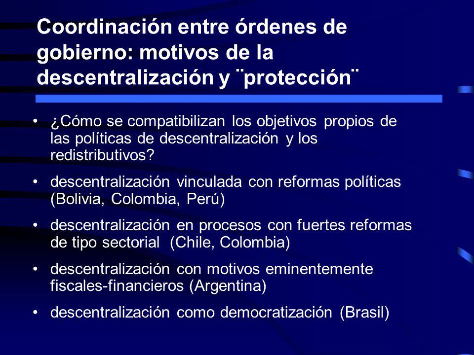 Coordinación entre órdenes de gobierno: motivos de la descentralización y ¨protección¨