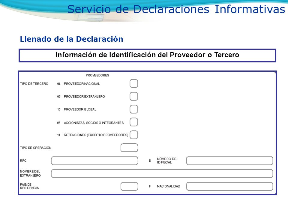 Información de Identificación del Proveedor o Tercero