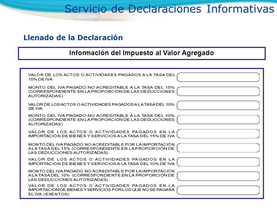 Información del Impuesto al Valor Agregado
