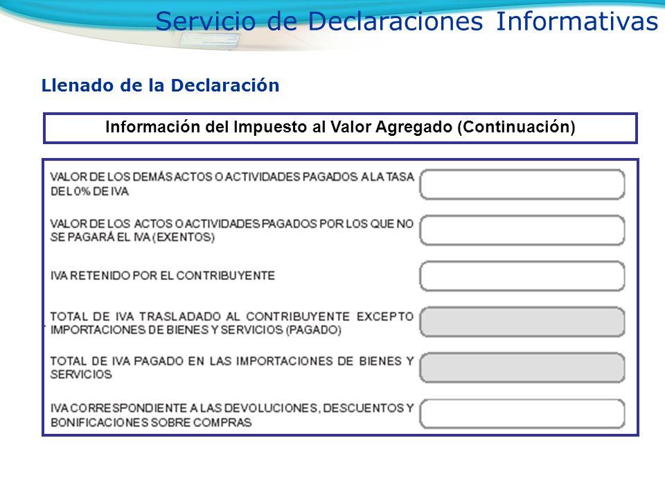 Información del Impuesto al Valor Agregado (Continuación)