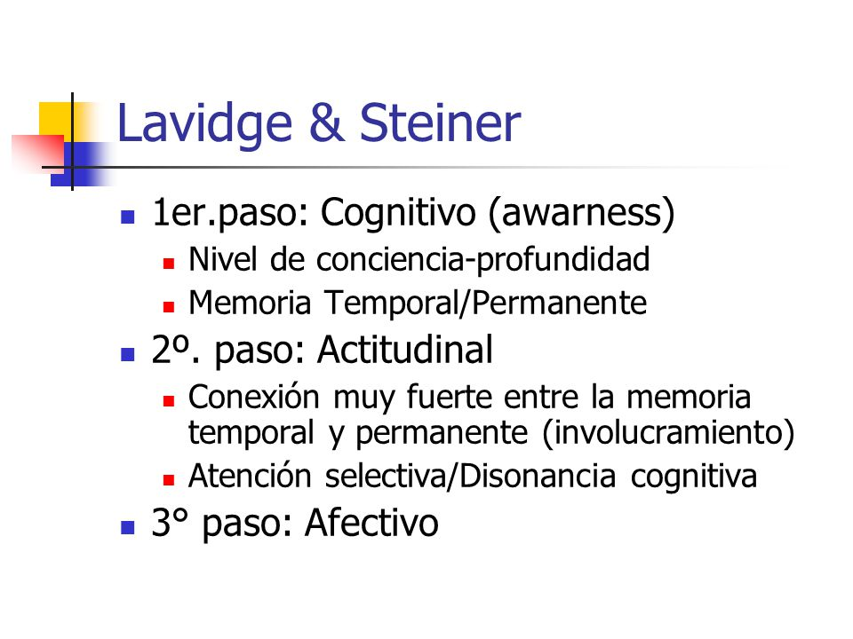 Lavidge & Steiner 1er.paso: Cognitivo (awarness) 2º. paso: Actitudinal
