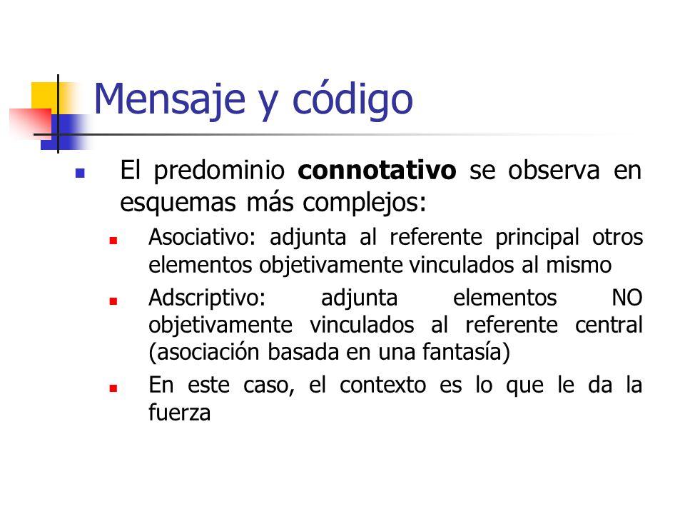 Mensaje y código El predominio connotativo se observa en esquemas más complejos: