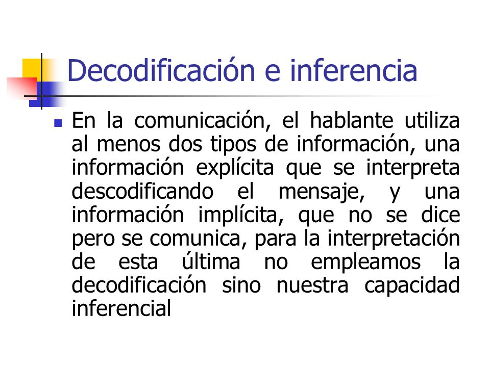 Decodificación e inferencia